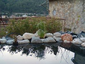 Dissimulé la bache du bassin de jardin