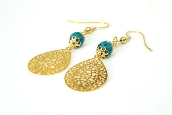 These turquoise and gold filigree drop earrings are the perfect piece for day-to-night styling.