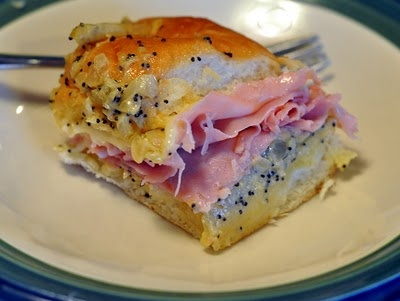 Ham & Cheese Poppyseed Sliders- These couldn't be any easier to make and are great for gameday or parties or even for lunch paired with a cup of soup.  Hawaiian sweet rolls, swiss cheese, shaved ham, sauteed onions, worcestershire, dijon & a few poppyseeds thrown in (could leave those out if you prefer).  Delish!