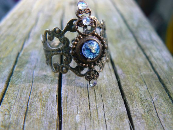 blue harlequin midi ring armor ring knuckle ring by gildedingypsy, $14.50