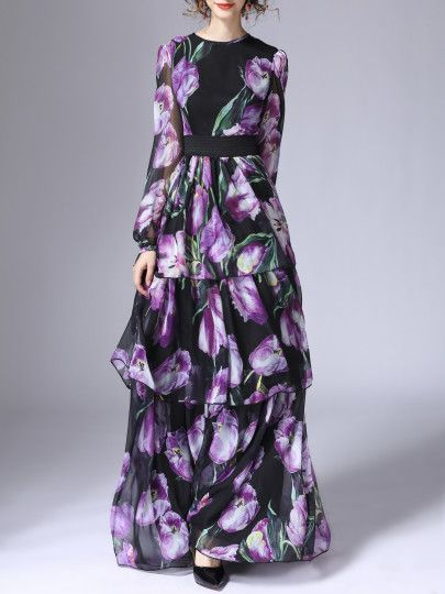 Black Elastic-Waist Ruffle Flowers Print Maxi Dress