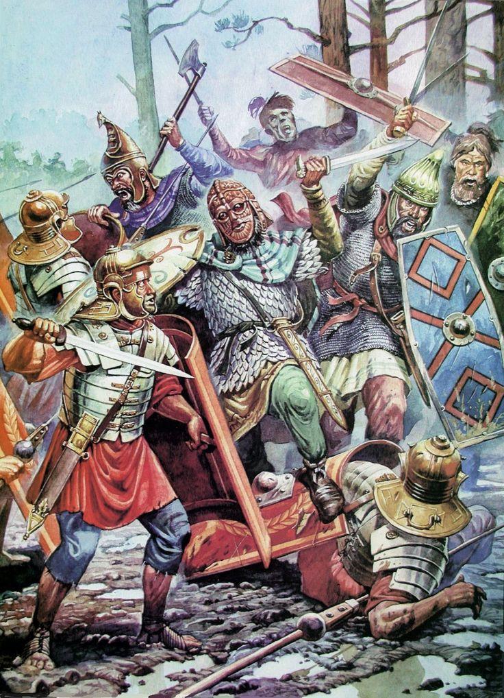 A battle between Romans and Marqomani Germans, 3rd cent. A.D.