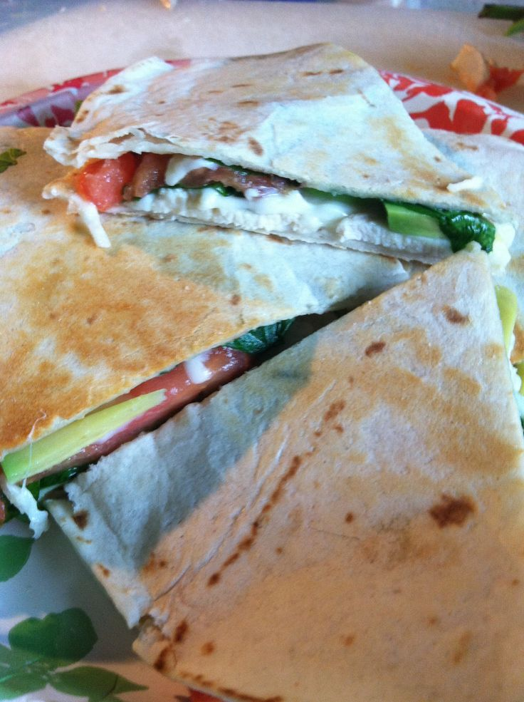 Grilled chicken and avocado quesadilla with spinach, tomato, and ...