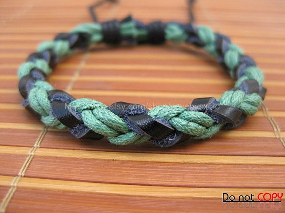 Adjustable leather Cotton Rope Woven Bracelets mens by sevenvsxiao, $3.00