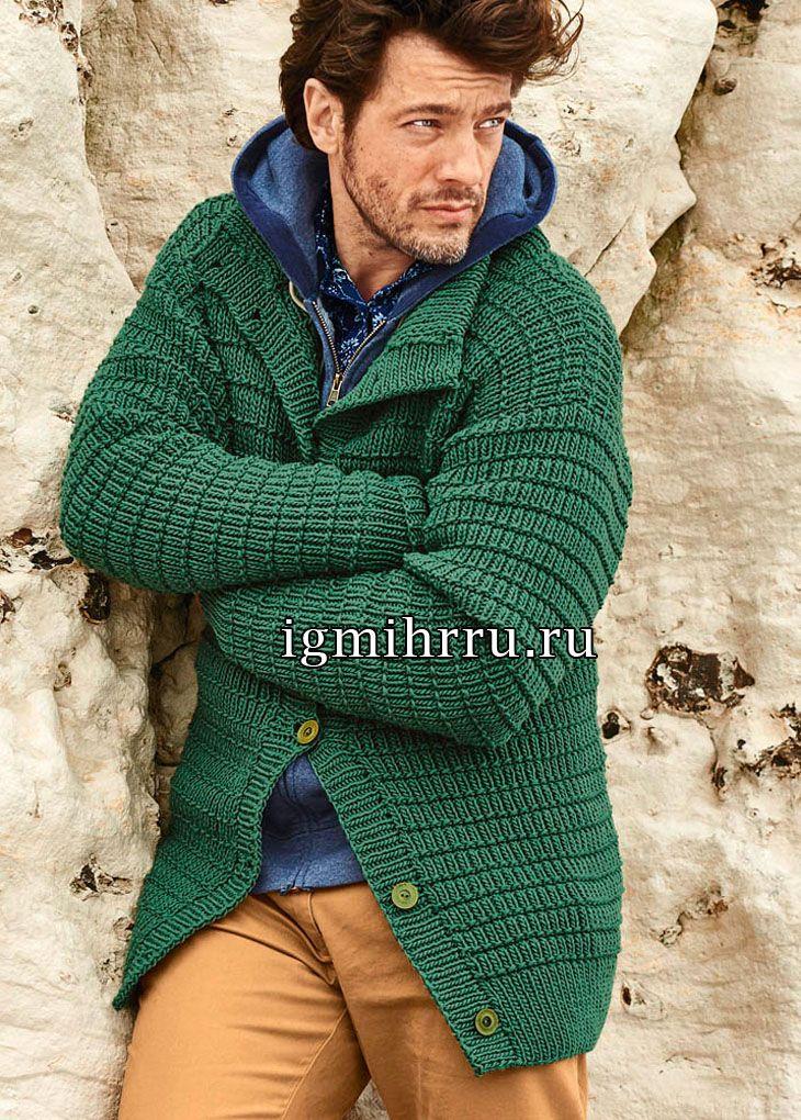 Зеленый мужской жакет с рельефным узором. Вязание спицами для мужчин