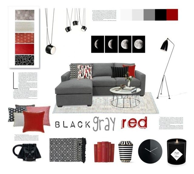 black gray red by levai-magdolna on Polyvore featuring interior, interiors, interior design, home, home decor, interior decorating, Design Within Reach, Aniza, Fürstenberg and Alessi