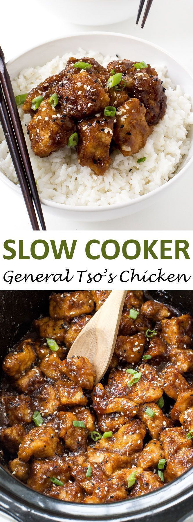 Super Easy Slow Cooker General Tsos Chicken. Way better (and healthier) than… More