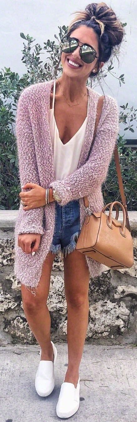 #winter #outfits white inner v-neck, purple cardigan, and blue denim shorts outfit. Pic by @dressupbuttercup.