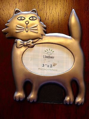 Matte Silver Picture Frame Cat Pet Photo Aluminum 3X2 Horiz Mom Kitty Mother