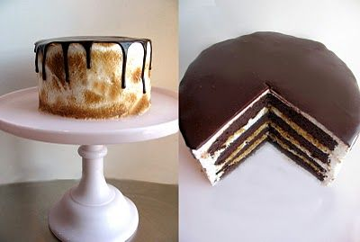 S'mores Cake.: Layered S More, Fancy Yummy, Layered Cakes, Layered Smore, No Baking Smore Cakes, Cakes Pop, S More Cakes, Yummy Food, Yummy Layered