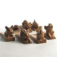 Assorted animal door stops - £7.50 each : Carved from suar wood  Dimensions; L15cm Rabbit, Pig, Dolphin, and Tortoise