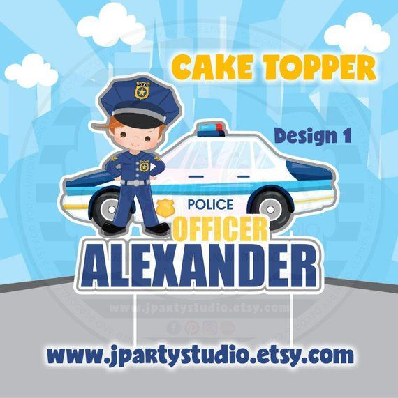 Police Cake Topper Cop Cake Topper Police Party Theme With
