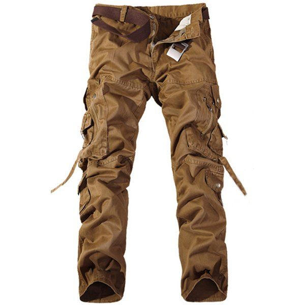 Wholesale Casual Loose Fit Multi-Pockets Zip Fly Solid Color Cargo Pants For Men Only $13.30 Drop Shipping | TrendsGal.com