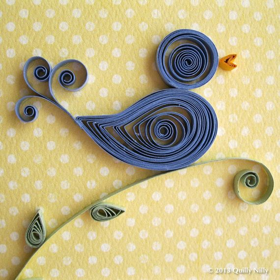 Paper Quilled Thank You Card Blue Bird by QuillyNilly on Etsy