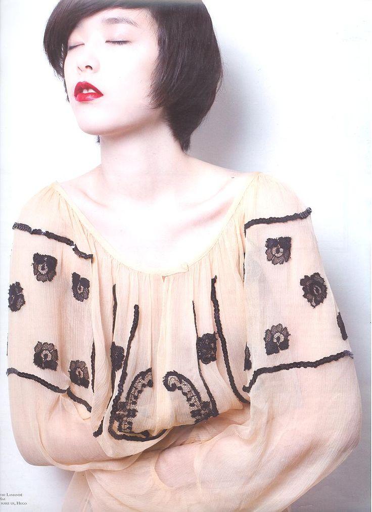 so chic fashion editorial,Ingrid Vlasov blouse beige chiffon,black lace