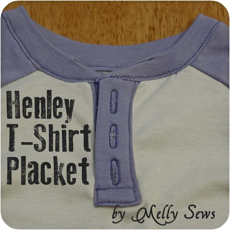 Melly Sews: Henley T-Shirt Placket: Henley Shirts, Sewing Techniques, Placket Tutorials, Henley Tshirt, Henley T Shirts, Sewing Tutorials, Melli Sewing, T Shirts Placket, Buttons Placket