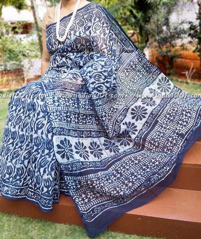 Elegant Kota Cotton Saree with Indigo Dabu Printing