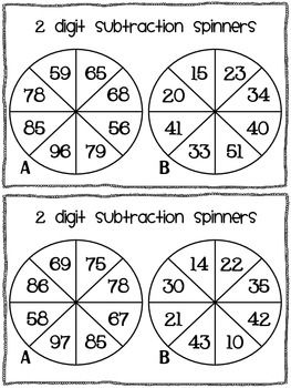 9.2.5 2-digit Addition and Subtraction through Counting:  Children spin both spinners, the subtract the smaller number (spinner B) from the larger number (spinner A). They have to write the sum as a horizontal subtraction and use an empty number line to demonstrate how they worked the answer out.