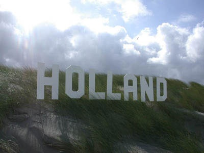 Ha ha, we totally love this Hollywood Holland sign in the Dutch dunes! #greetingsfromnl