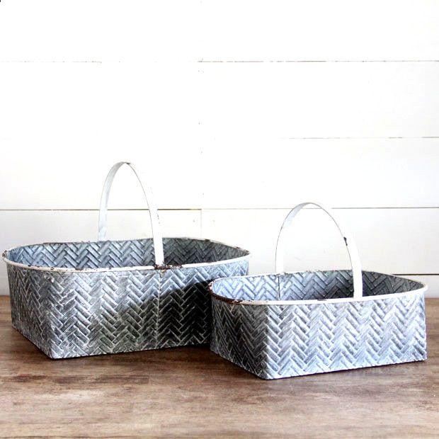 Detailed Tin Basket Set Of 2 Storage Baskets Basket Rustic Watering Cans