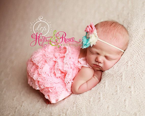 Romper-2 pc Coral Pink Petti Lace Romper and Headband,Baby Romper,Baby Headband,Baby Girl coming home-Lace Romper.Newborn Outfit.