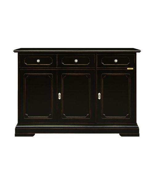 3 door black sideboard buffet. Black and cherry wood with swarovski hardware. A piece of furniture completely made in Italy. sku. 3072-SPN. www.italian-style.co.uk/wp/product/3072-spn-3-door-black-sideboard-buffet/