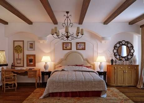 Выбор цвета потолка и балок делается исходя из стиля, цветового оформления интерьера, оттенков мебели и текстиля и т.п. С чем должны быть созвучны балки в интерьере? С чем угодно. Они могут совпадать с цветом деревянных полов или мебели. Они могут быть контрастными потолочному полотну, но соответствовать цвету стен. Здесь нет строгих канонов.