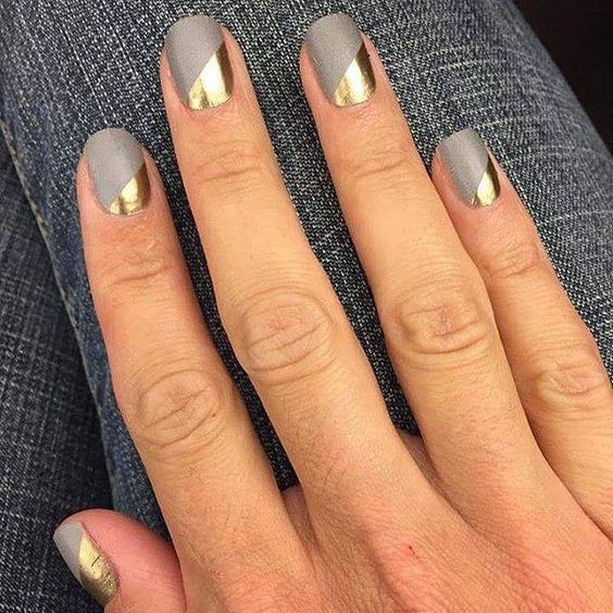 Grey and gold nails #weddingnails