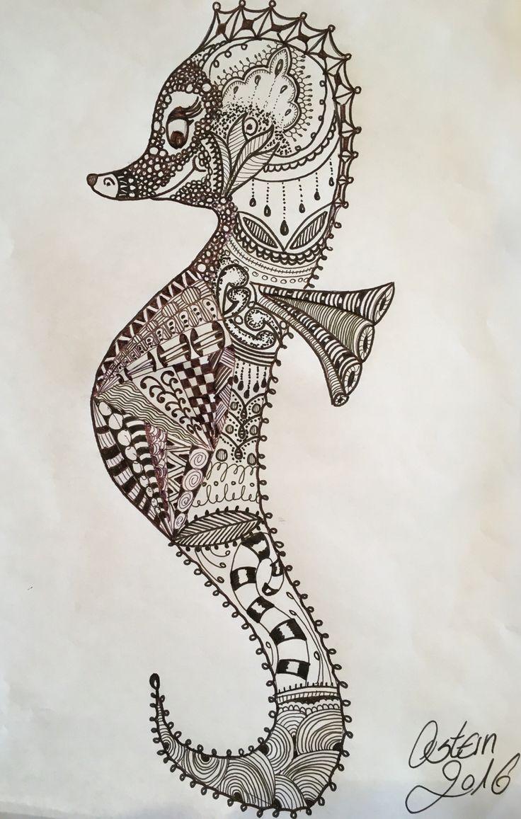 Seepferdchen seahorse zentangle tiere zentingletangle for Pinterest kostenlos