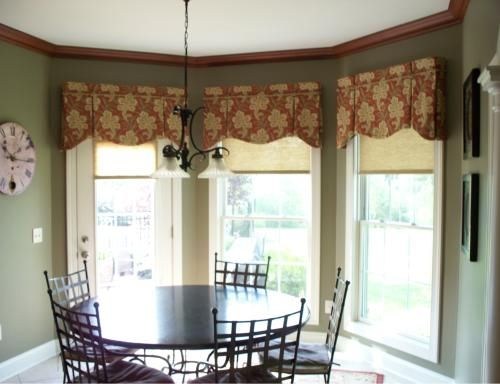 29 best images about valance on pinterest bay window for Bay kitchen window treatment ideas