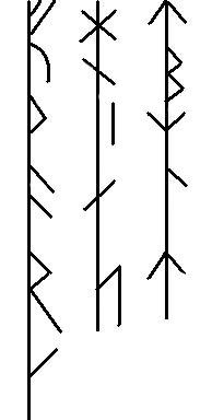 "Samstavsrunor | bind rune inscription. The three aetts of the Younger Futhark written on a single stave each. Based on Enoksen's ""Runor"", 1998, p. 83"