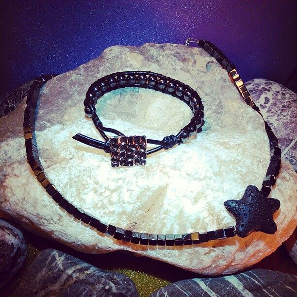 SemiPrecious Combinations - HEMATITE Bracelet + HEMATITE & LAVA Necklace