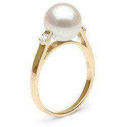 Bague Or et diamants avec perle de culture d'Eau Douce