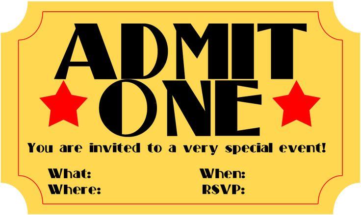 Free Printable Invitation: Movie Ticket Stub ~ Frugalful.com