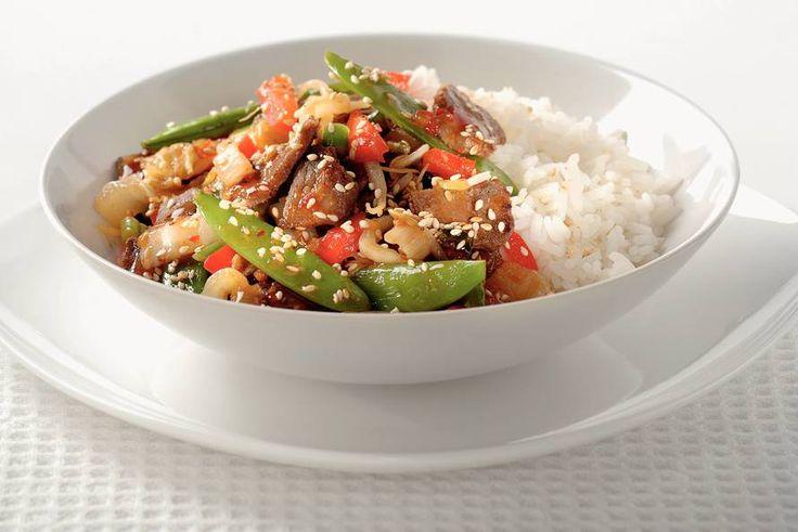 Kijk wat een lekker recept ik heb gevonden op Allerhande! Chinees wokvlees met groenten en rijst