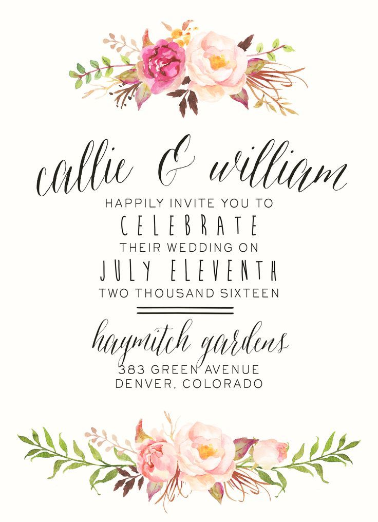 Watercolor Floral Wedding Invitation by SplashOfSilver // Rustic, Boho Chic // B...