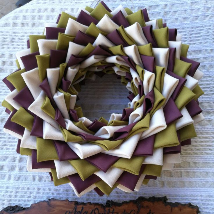 Autumn wreath, year round door hanger, quilted wreath, folded fabric wreath, decorative outdoor wreath, fabric wreath, housewarming gift by AdaQuiltedCreations on Etsy