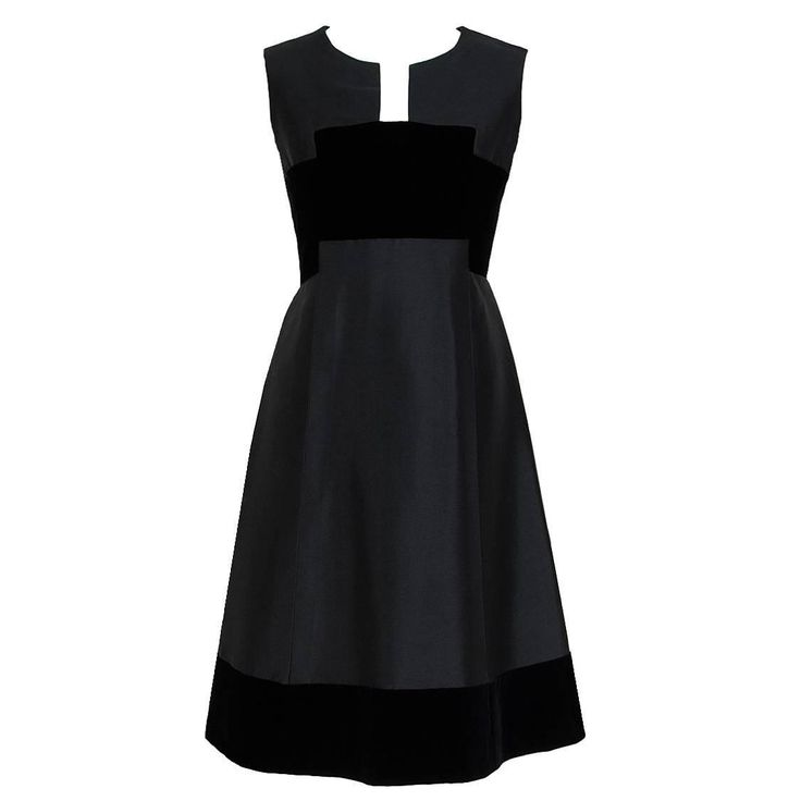 1966 Pierre Balmain Haute-Couture Black Silk & Velvet Mod Cocktail Dress