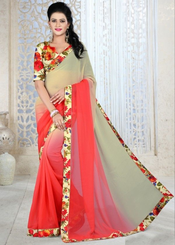 Beige and peach coloured chiffon printed saree