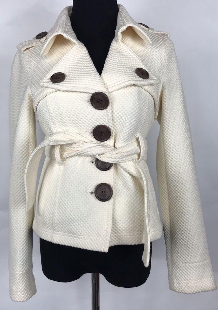 b21ecfb8 Sugarfly Womens Belted Cream Jacket Coat Big Buttons Cream Textured XS |  eBay