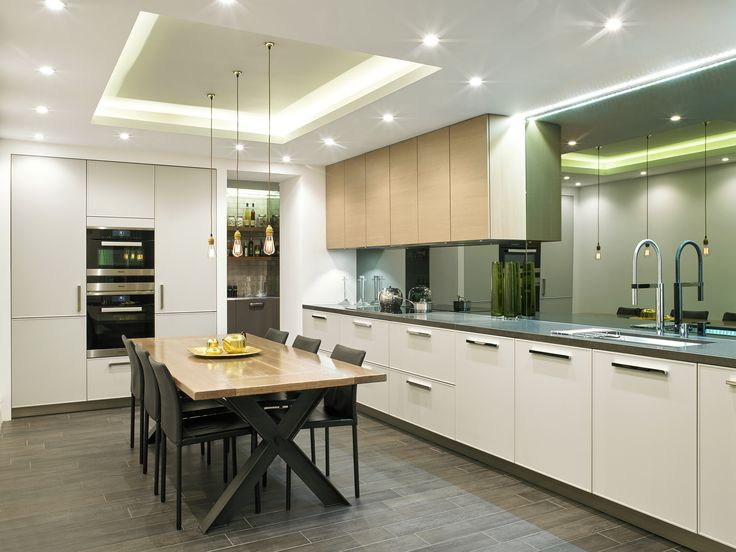systemat range light grey lacquer matt cabinetry light oak veneer wall units caeserstone systemat kchen - Ex Display Designer Kitchens For Sale