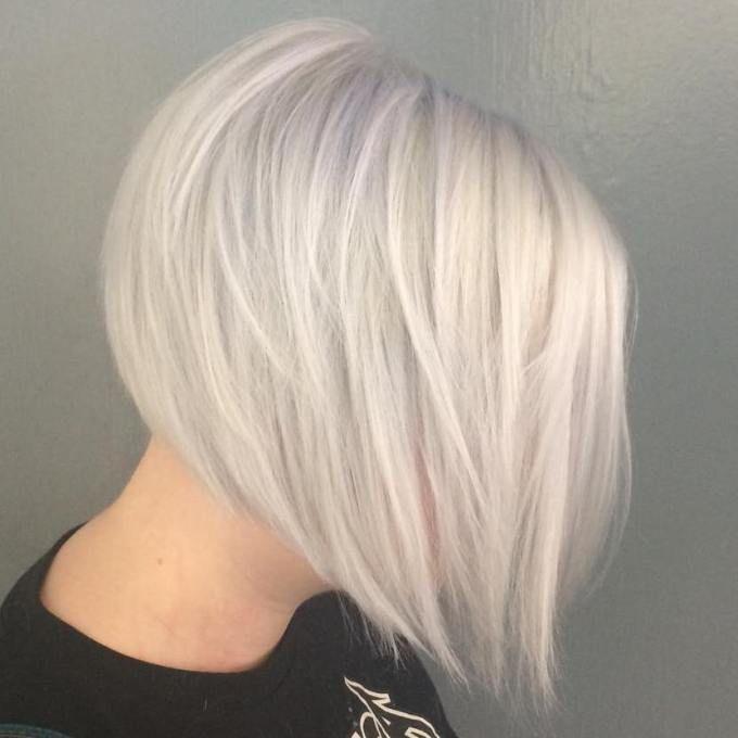 Straight Layered White Blonde Bob More