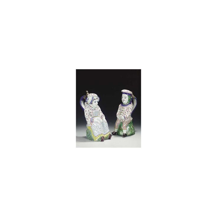 PAIR OF BRUSSELS PEWTER-MOUNTED FAIENCE FIGURAL JUGS, 19TH CENTURY