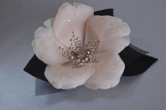 Crystal hair flowers, hair jewelry, silk flowers , blush flowers