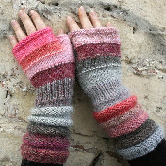 Bubblegum Unmatched Hand Knit Wrist Warmers.
