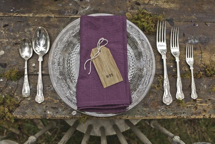 rustic purple table setting
