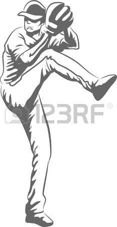 baseball pitcher: Illustration d'un joueur de baseball lancer une balle Illustration