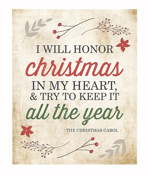 Christmas Wall Art Typography Print / I Will Honor Christmas Charles Dickens Christmas Carol Quote / Holiday Decor / Red Green Retro Vintage...: