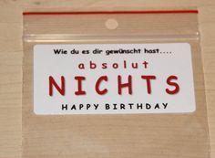 EINE TÜTE NICHTS! Geschenkidee zum Geburtstag