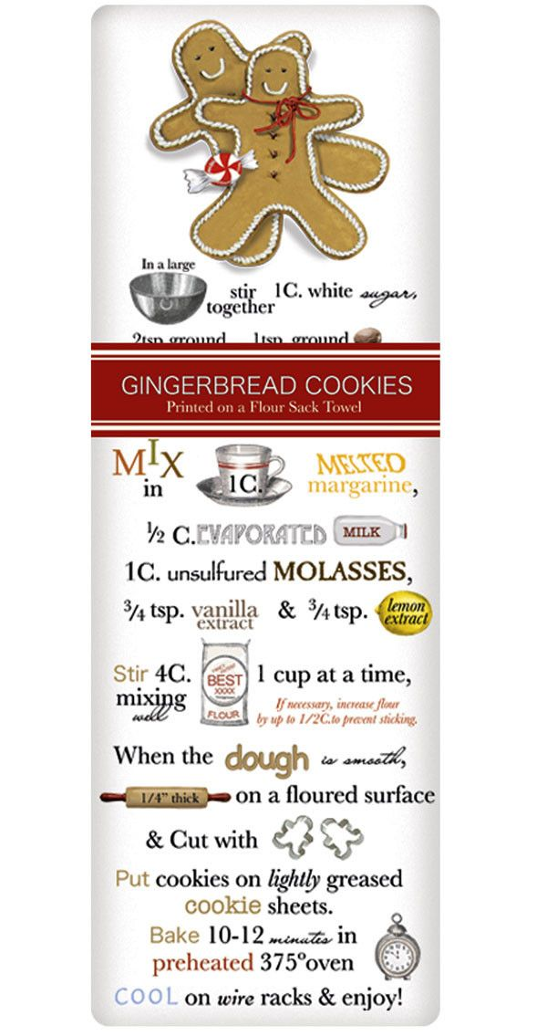 Holiday Gingerbread Recipe 100% Cotton Flour Sack Dish Towel Tea Towel